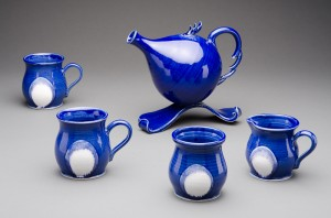 Blue Funky Teapot with Mugs Helen Daly