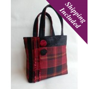 Ladies Designer Handbag in Red Tartan - Grainne