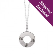 Silver Round Hole Pendant - Three Lucky Stars