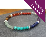 Chakra Balancing Bracelet with Crystals & Sterling Silver Beads