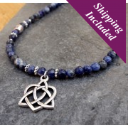 Sodalite & Tibetan Silver Necklace with Celtic Heart Pendant