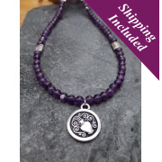 Aquarius Amethyst Crystal Necklace with Zodiac Pendant