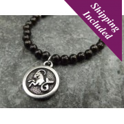 Capricorn Jet Crystal Necklace with Zodiac Pendant