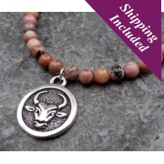 Taurus Rhodonite Crystal Necklace with Zodiac Pendant
