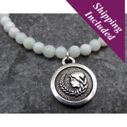 Virgo Amazonite Crystal Necklace with Zodiac Pendant