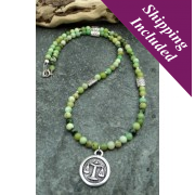 Libra Chrysoprase Crystal Necklace with Zodiac Pendant
