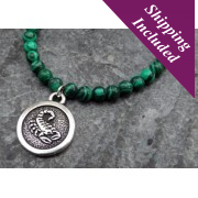 Scorpio Malachite Crystal Necklace with Zodiac Pendant