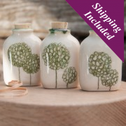 Handmade Small Ceramic Bottle (Allium Design)