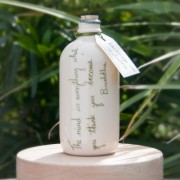 Handmade Ceramic Message on a Bottle (Buddha Quote)