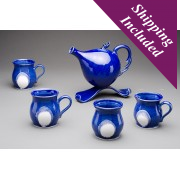 "Ceramic Tea Set with ""Funky"" Teapot - Blue Sea"