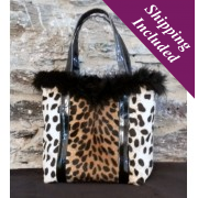 Ladies Designer Handbag in Leopard Print Fabric - Chloe