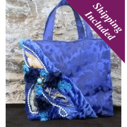 Ladies Designer Handbag in Blue Satin - Claire