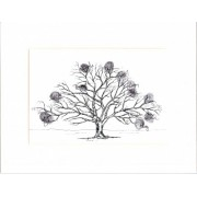 Friends & Family Tree- Takes 150 Fingerprints - Oak- A2-Personalised/ Handrawn Original Unframed