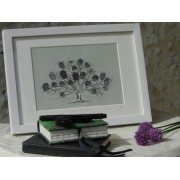 Friends & Family Tree- Takes 30 Fingerprints - Irish Oak- Large Framed Print