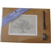 Friends & Family Tree- Takes 15 Fingerprints - Irish Oak- Small Mounted Print